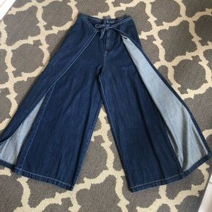 WT Free Flared Palazzo High Waisted Festival Jeans